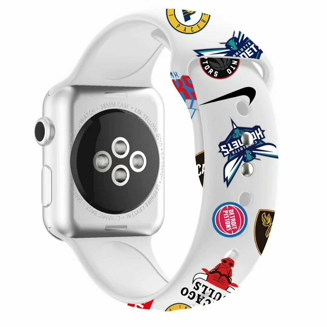 NBA Sports Team Silicon Apple Watch Band - White