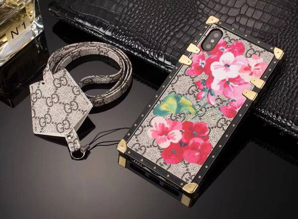 Pink Flowers GG Monogram Trunk Case w/ Earphone Holder