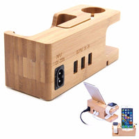 2 In 1 Bamboo Charging Dock w/ Usb Ports