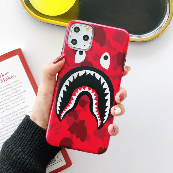 Shark Mouth Camo Protective Iphone Case - Red (Various Models)
