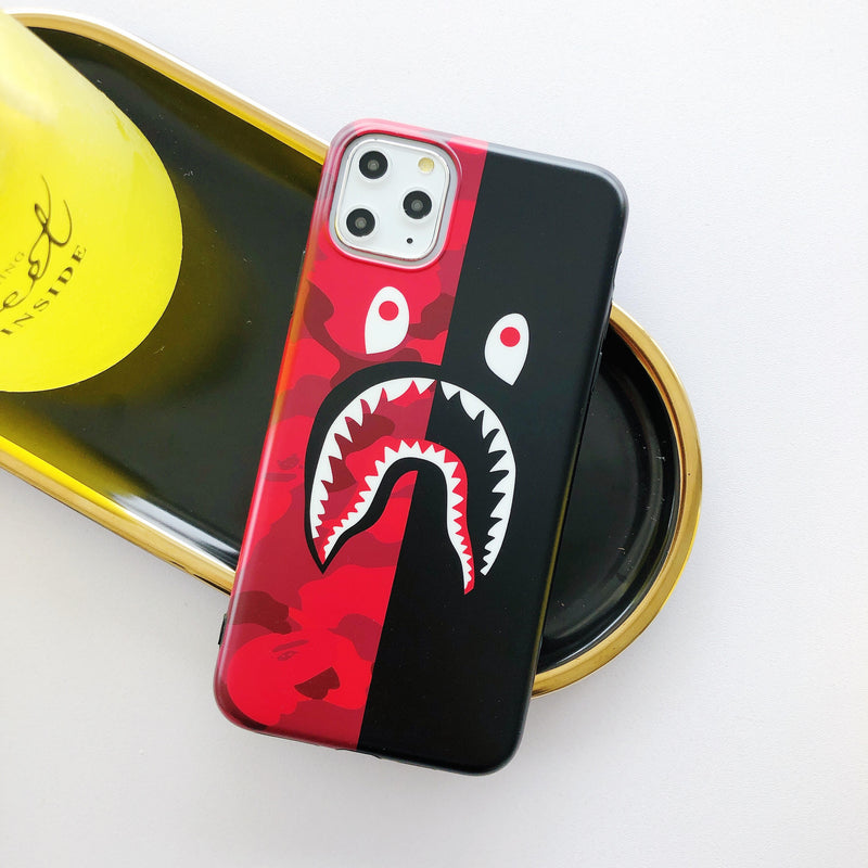 Shark Mouth Camo Protective Iphone Case - Half Red (Various Models)