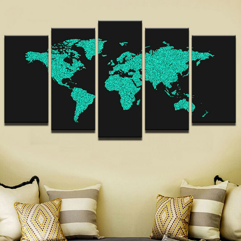 World Map Canvas Art, World Map Wall Art, Blue and Black Wold Map ...