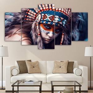 Native Indian Canvas Art, Native Indian Wall Art, Native Woman Wall Art,  Native