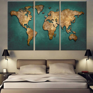 World Map Wall Art, World Map Canvas Art, Green World Map Canvas Print,