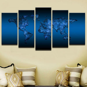 World Map Wall Art, World Map Canvas Art, Royal Blue World Map Canvas Print