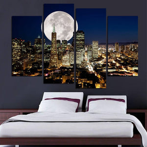 New York Moon Wall Art, New York Moon Large Canvas Art, New York Moon