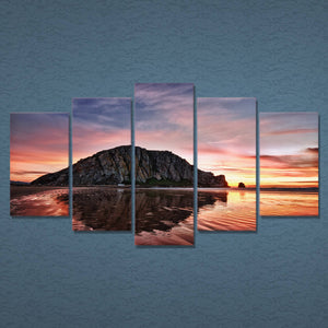 Sunset Water Canvas Art, Sunset Water Wall Art, Sunset Water 5 Piece Canvas  Print