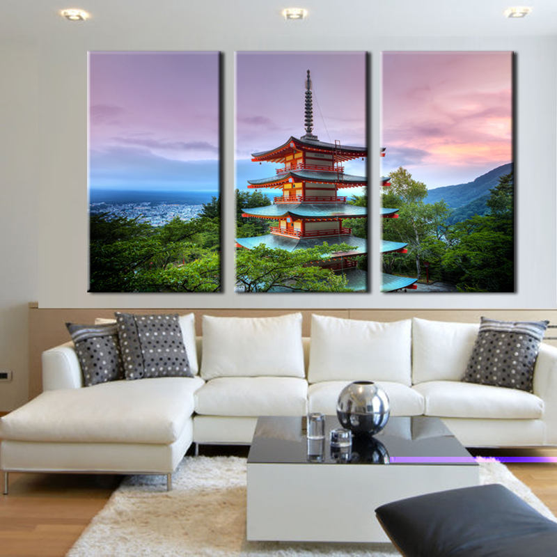 Japanese Canvas Art, Japanese Wall Art, Japan 3 Piece Canvas Print, Japanese  Building