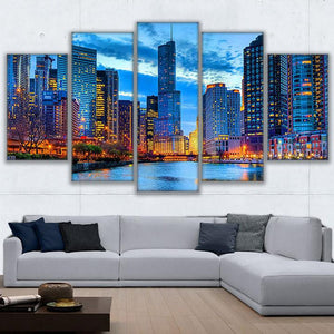 Marvelous Chicago Canvas Art, Chicago Wall Art, Chicago Buildings 5 Piece Canvas  Print, Chicago