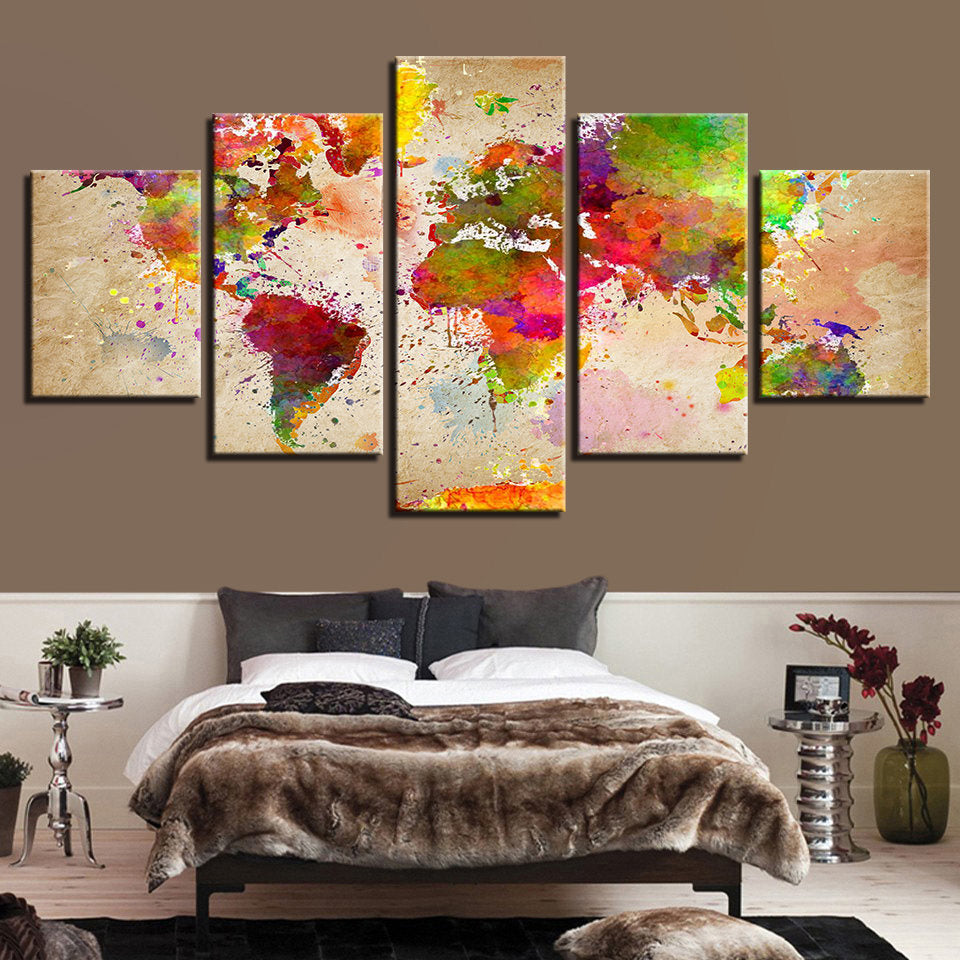 World map watercolor wall art world map watercolor canvas art world map watercolor wall art world map watercolor canvas art watercolor map 5 pieces gumiabroncs Gallery