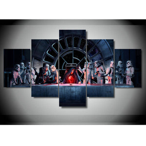 Superb Star Wars Canvas Art, Star Wars Wall Art, Star Wars Last Supper 5 Piece