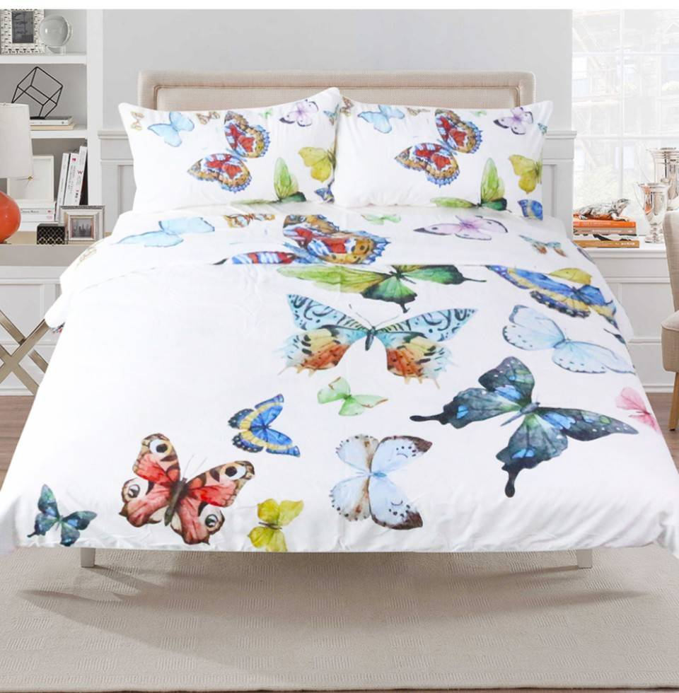 Butterflies duvet cover white duvet cover king duvet cover queell duvet twin