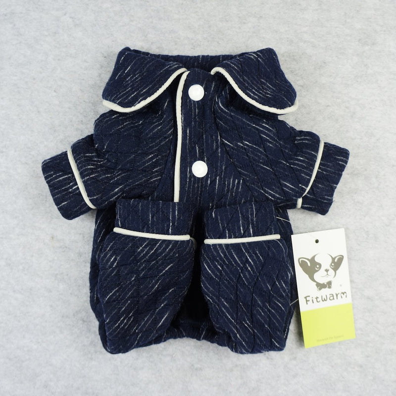 Blue Cotton Quilted Pajamas