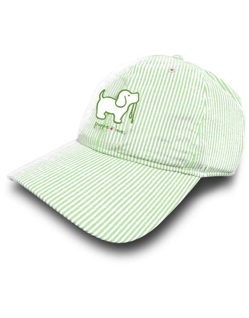 Puppie Love - Green Seersucker Hat