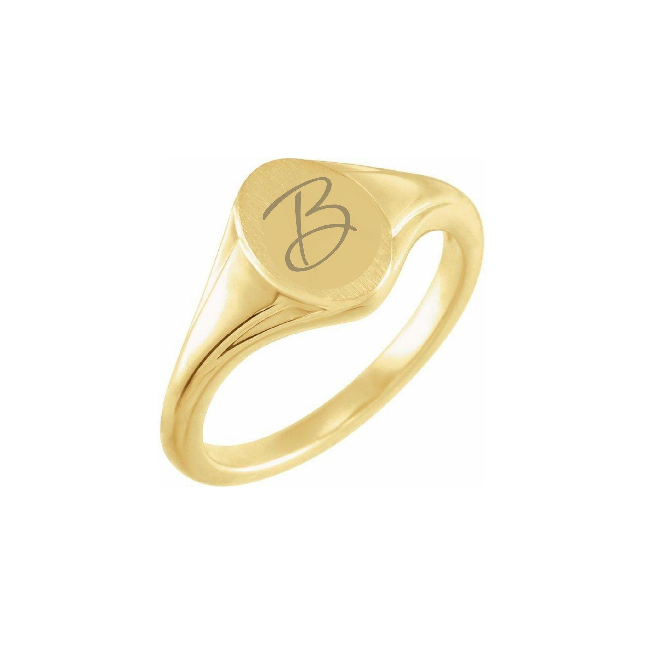 Oval Fluted Signet Ring