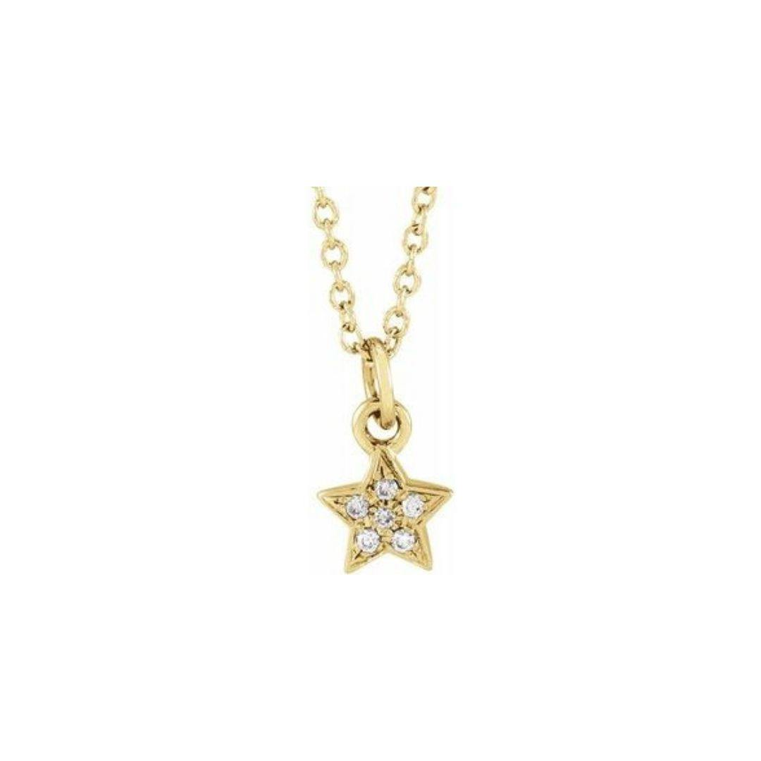 Diamond Star Charm Necklace - Elisha Marie Jewelry