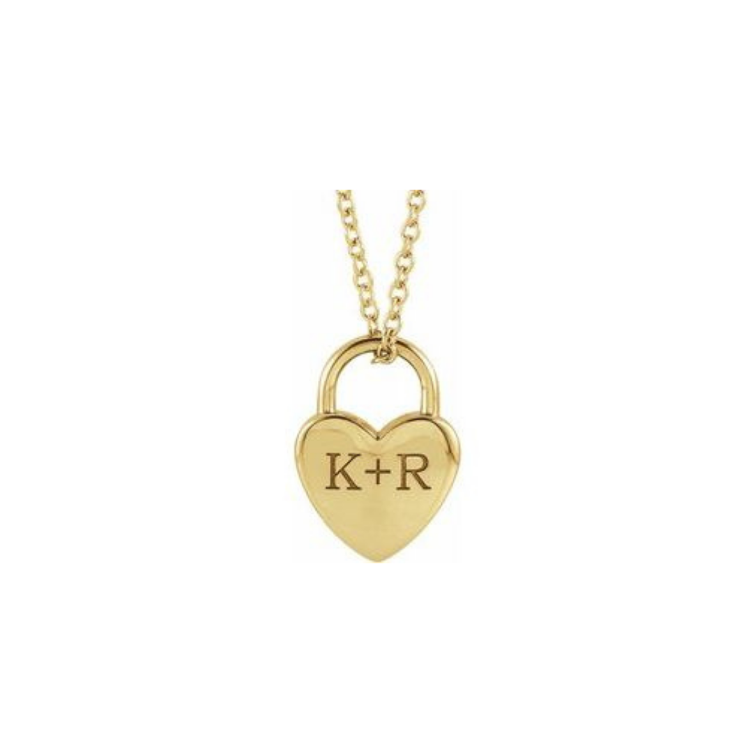 Engraved Heart Lock Necklace