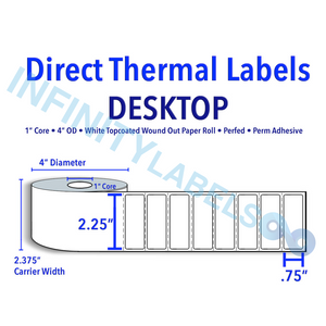"2.25"" X 0.75"" Direct Thermal Labels - 1"" Core, 4"" Outer Diameter [530583]"