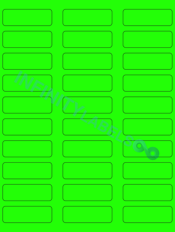 [CUSTOM] 500 Sheets, Fluorescent Green Paper .75 in. x 2.25 in. Laser Sheets RCR. Supplied 30 LPS.