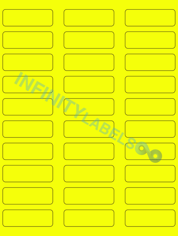 [CUSTOM] 500 Sheets, Fluorescent Yellow Paper .75 in. x 2.25 in. Laser Sheets RCR. Supplied 30 LPS.