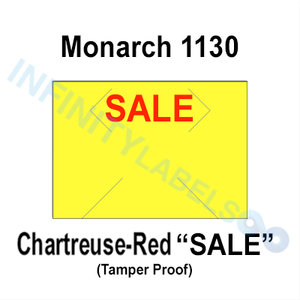 "200,000 Monarch compatible 1130 ""SALE"" Fluorescent Chartreuse Labels. Full case w/8 ink rollers."