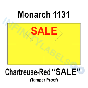 "160,000 Monarch compatible 1131 ""SALE"" Fluorescent Chartreuse Labels. Full case w/8 ink rollers."