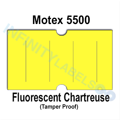 240,000 Motex compatible 5500 Fluorescent Chartreuse Labels. Full case.