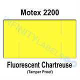 255,000 Motex compatible 2200 Fluorescent Chartreuse Labels. Full case w/15 ink rollers.