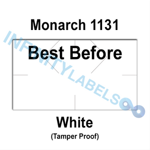 "160,000 Monarch compatible 1131 ""Best Before"" White Labels. Full case w/8 ink rollers."