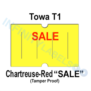 "240,000 Towa 1 (GS) compatible ""SALE"" Fluorescent Chartreuse Labels. Full case."