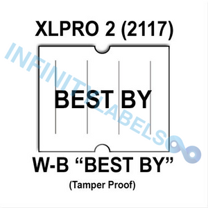 "180,000 XLPro 2117 compatible ""BEST BY"" White Labels. Full case."