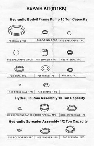 811RK - Hydraulic Ram Repair Kit
