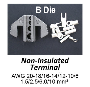 HT-2110-B Crimping Tool Die - B Die for Non-Insulated Terminals AWG 20-18/16-14/12-10/8