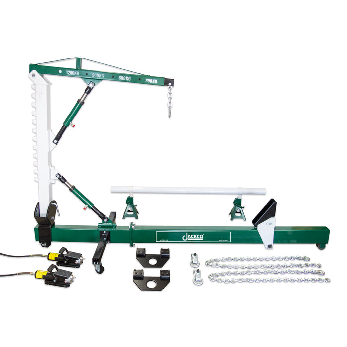 859 - Jackco 10 Ton Auto Body Frame Repair Straightener with 1.2 Ton Crane , Swivel Post, 2 Air Hydraulic Pumps