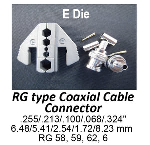 HT-2130-E Crimping Tool Die - E Die for RG Type Coaxial Cable Connector .255/.213/.100/.068/.324""