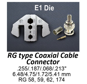 HT-2130-E1 Crimping Tool Die - E1 Die for RG Type Coaxial Cable Connector .255/.187/.068/.213""