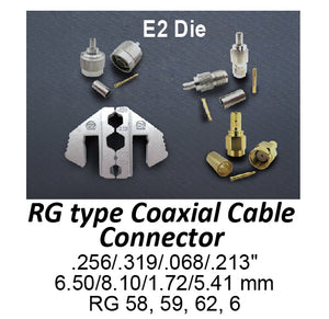 HT-2130-E2 Crimping Tool Die - E2 Die for RG Type Coaxial Cable Connector .256/.319/.068/.213""