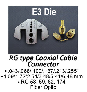 HT-2130-E3 Crimping Tool Die - E3 Die for RG Type Coaxial Cable Connector .043/.068/.100/.137/.213/.255""