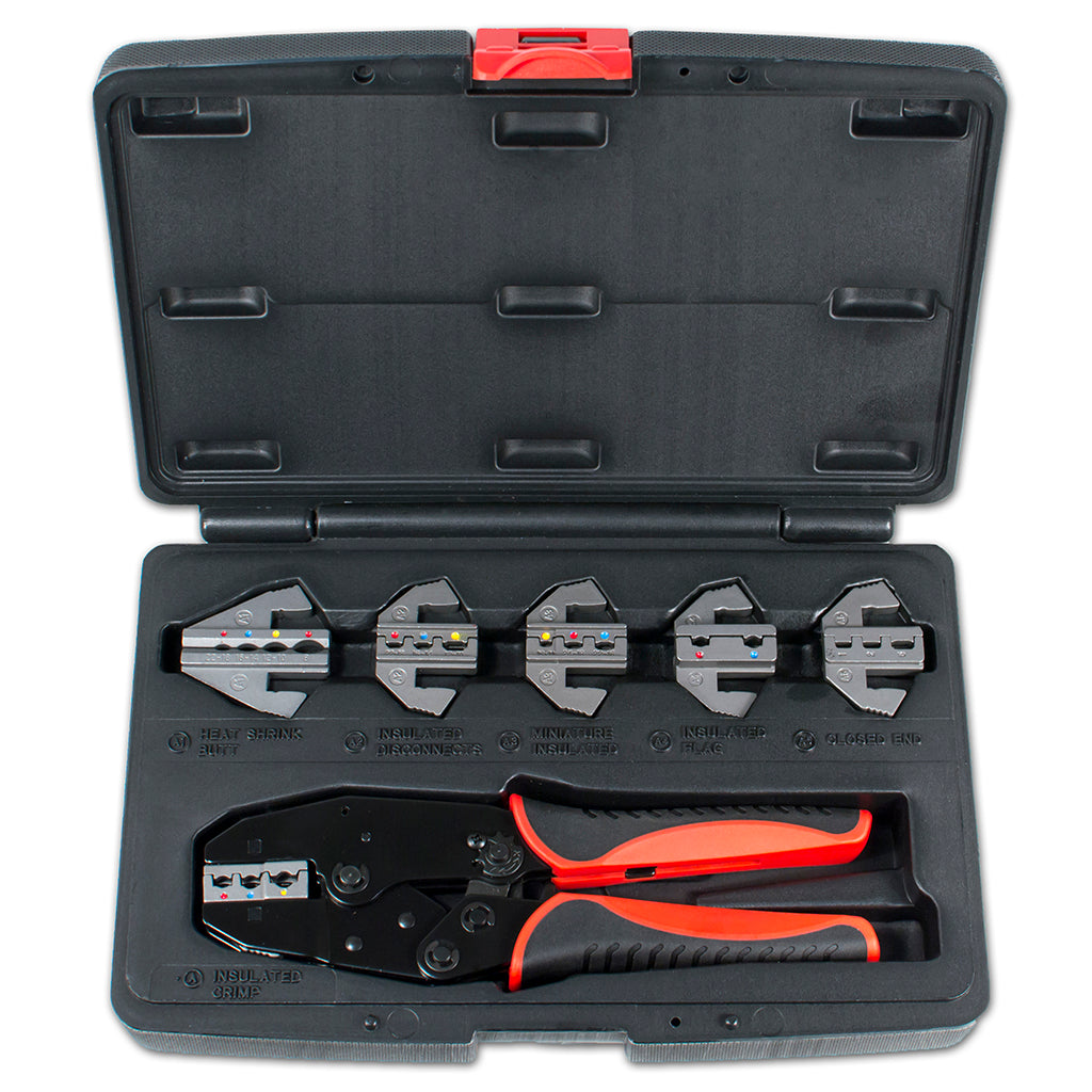 HT-2110 - Interchangeable Ratcheting Terminal Crimper Set - 6 Die Sets Quick Change