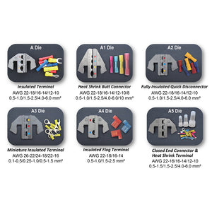 Interchangeable Ratcheting Terminal Crimper Set - 6 Die Sets Quick Change
