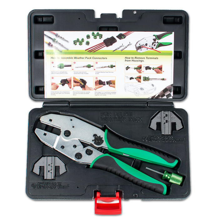 HT-2115 - Delphi Weather Pack Connector Terminal Ratcheting Crimping Tool- Includes 2 Dies