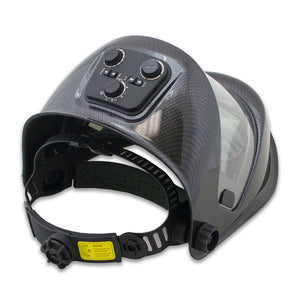 WH180B-CB - Panoramic 180 View Solar Powered Auto Darkening Welding Helmet - Carbon