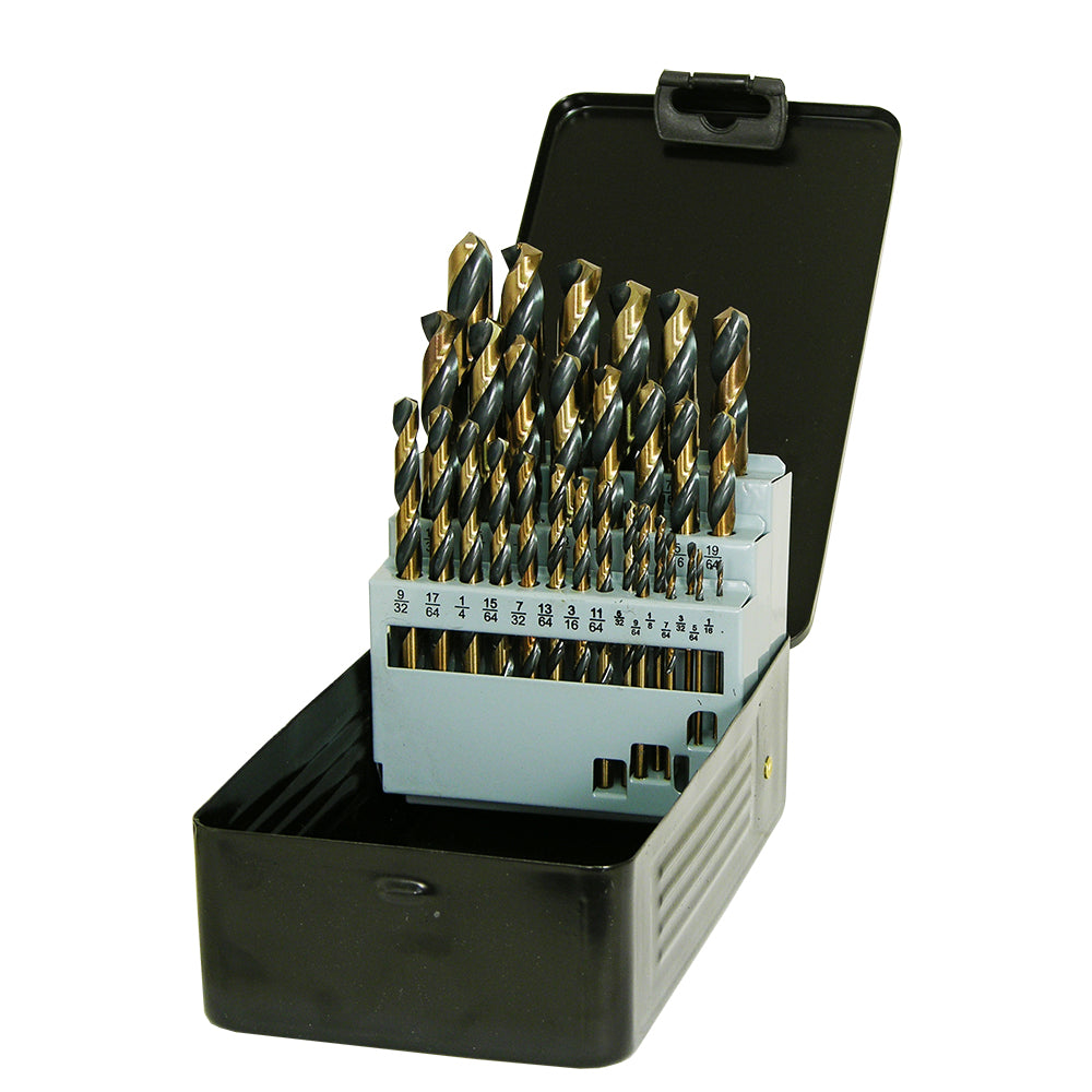 29 pc Industrial Black & Gold Drill Bit Set