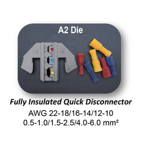 HT-2110-A2 Crimping Tool Die - A2 Die for Fully Insulated Quick Disconnectors