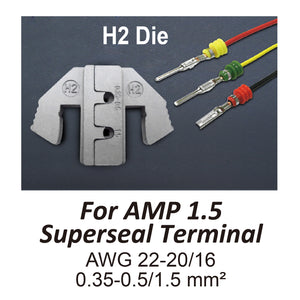 HT-2120-H2 Crimping Tool Die - H2 Die for AMP 1.5 Superseal Terminal AWG 22-20/16