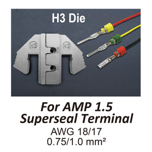 HT-2120-H3 Crimping Tool Die - H3 Die for AMP 1.5 Superseal Terminal AWG 18/17