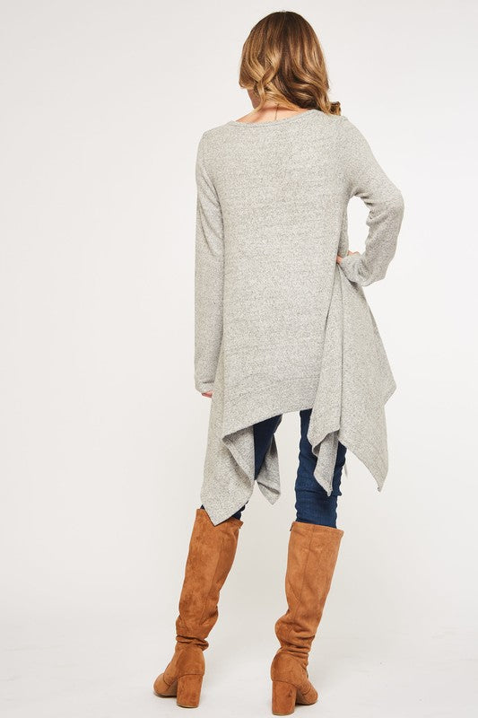 MISSES & CURVY: Heather Gray Shark Bite Sweater