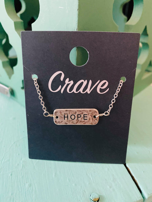 HOPE Silver Tone Reversible Necklace