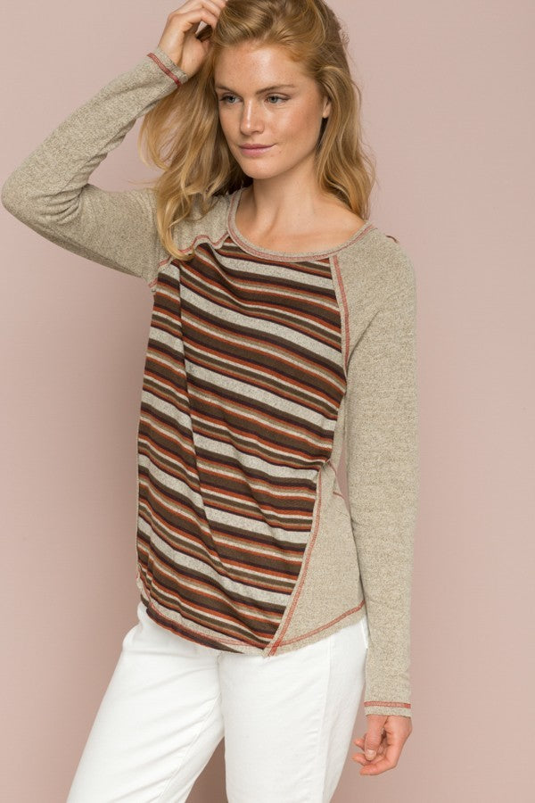 Autumn Hues Shades of Brown Striped Raglan Shirt