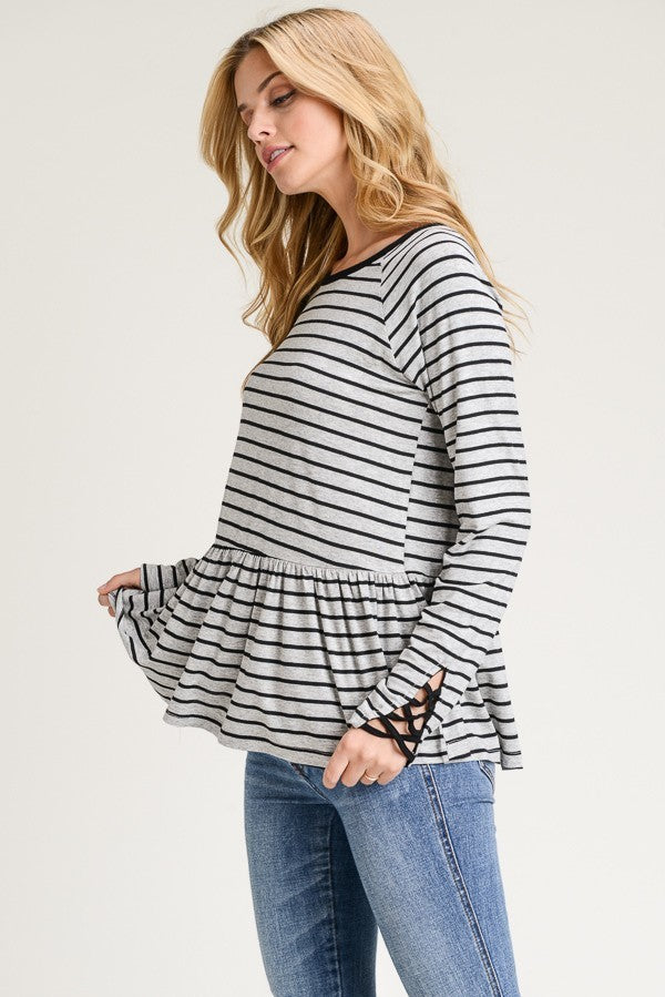 Gray & Black Striped Peplum Top w Back Lace